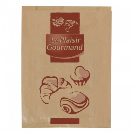 1000 Sacs croissants No 7 (Brioche) papier kraft brun.