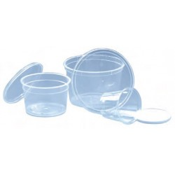 100 Pots à coulis transparent 50 cl avec couvercle.