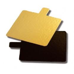 200 Carrés languettes 8 cm carton or noir double face.