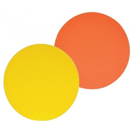100 Ronds orange/citron double face. 28 cm.