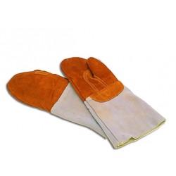 Moufle de protection en cuir traité anti-chaleur 300° C.