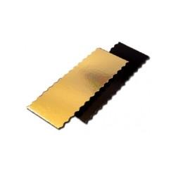 50 semelles de bûche or/noir festonnées 60 x 10 cm.