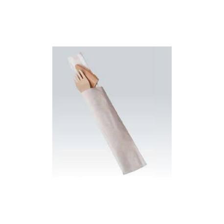 100 Kits couvert bois fourchette couteau + serviette