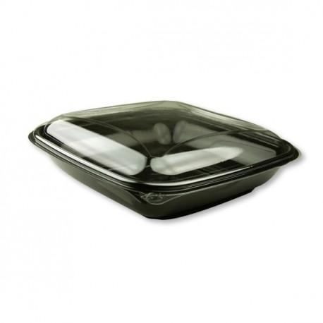 80 Saladiers carrés fond noir et couvercle cristal.